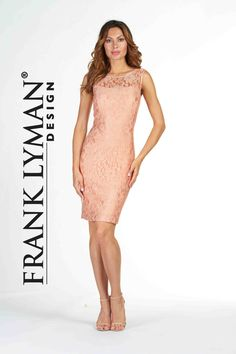 Frank Lyman Design 2017. Stunning cocktail length lace dress in peach color. Proudly Made In Canada