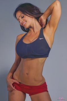 Denise Milani preview of her set Fitness Red Shorts