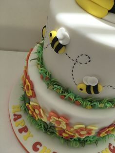 Bee themed tiered christening cake in yellow and orange #beethemedcake #beechristeningcake #beecake Fondant Cake Toppers, Fondant Cakes, Beautiful Cakes, Amazing Cakes, Owl Cakes, Cake Decorating Classes, Coconut Bars, Cookie Gifts, Bee Theme