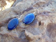 Blue Lapis Lazuli Earrings on Sterling by MountainUrsusDesigns, $23.00