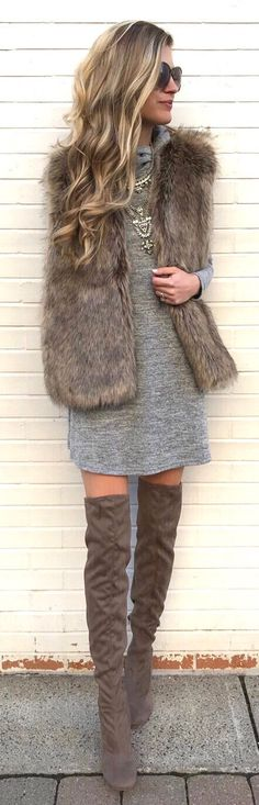 #winter #outfits heather-gray long-sleeved dress