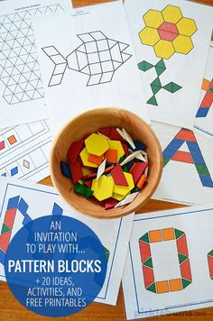 A simple invitation to play with pattern blocks - plus lots of ideas, activities and resources for pattern block play blocks Pattern Blocks - 20 ideas activities & free printables Preschool Learning, Kindergarten Math, Early Learning, Teaching Math, Toddler Activities, Preschool Activities, Kids Learning, Preschool Alphabet, Alphabet Crafts