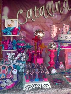 Sparkly decorations at a Taylor Swift birthday party! See more party ideas at CatchMyParty.com!