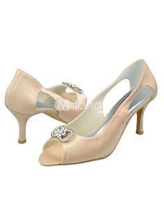 Champagne Rhinestone Peep Toe Satin Wedding Shoes. See More Bridal Shoes at http://www.ourgreatshop.com/Bridal-Shoes-C919.aspx