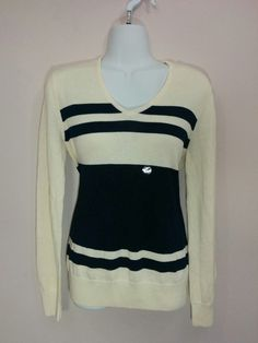 American Living ivory & blue striped long sleeve v-neck sweater, Large, L, #1770 #AmericanLiving #VNeck