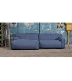 FEST Amsterdam Couch `Clay ', Sydney80 dark blue, 1.5-seater / Longchair left or right - lefliving.com