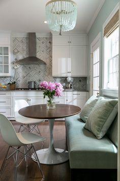 Banquette, Mosaic Marble Backsplash, Kitchen, Ro Sham Beaux, Kitchen