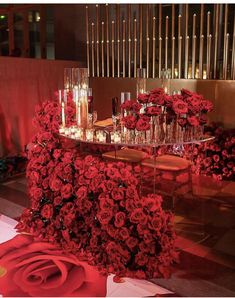 An orchestra of fully bloomed red Roses doing what only Red Roses can do. Bring eternal love and warmth to this gorgeous sweetheart table… Wedding Themes, Wedding Designs, Wedding Colors, Wedding Events, Red Wedding Receptions, Wedding Dresses, Red Rose Wedding, Wedding Flowers, Black Red Wedding