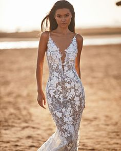 18 Absolutely Gorgeous Destination Wedding Dresses ❤ destination wedding dresses mermaid with spaghetti straps floral milla nova #weddingforward #wedding #bride
