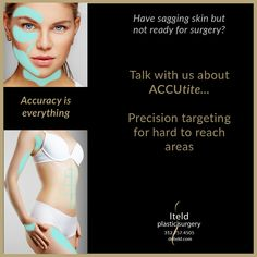 Have sagging skin but not ready for surgery? Talk with us about Accutite—precision targeting for hard to reach areas without surgery. Call now 312.757.4505 to schedule a consult. #accutite #minimallyinvasive #skintighteningtreatment #radiofrequency #skintightening #noscars #boardcertifiedplasticsurgeon #chicagoplasticsurgery #boardcertified #plasticsurgeon Plastic Surgery Procedures, Cool Sculpting, Double Chin, Radio Frequency, Sagging Skin, Tummy Tucks, Weight Loss Surgery, Body Contouring, Liposuction