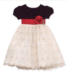 Elegant black and white with red accent dress for baby