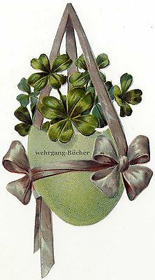 Vintage Victorian die cut paper scrap, Easter egg with four-leafed clover c 1880