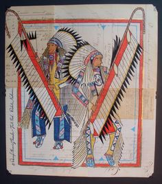Contemporary ledger art by Darryl GrowingThunder, Poplar Montana.