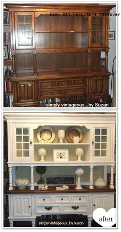 Before and After - Country Style Cabinet Transformation vorher nachher möbel Before and After Country Style Cabinet Transformation - Our Home Sweet Home Refurbished Furniture, Repurposed Furniture, Furniture Makeover, Painted Furniture, Hutch Makeover, Hutch Redo, Painted Hutch, Hutch Cabinet, Buffet Hutch