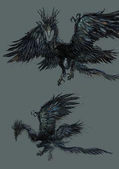 Dark Souls 3 Concept Art - Nameless King's Dragon Concept Art