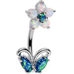 Clear Aqua Faux Opal Flourishing Flower Double Mount Belly Ring