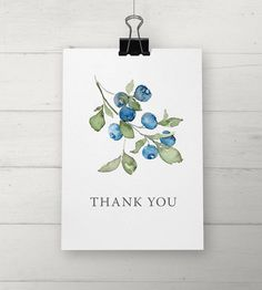 Watercolor Blueberry Thank You Cards by NooneyArt on Etsy