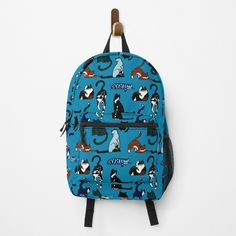 """Cat Lovers Teal Pattern"" Backpack by HavenDesign 