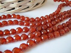 Red carnelian faceted round beads, Carnelian Gemstone Beads, 10mm, full strand by Susiesgem on Etsy