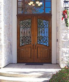 GlassCraft Door Company Knotty Alder Barcelona Square Top Arch Double Entry