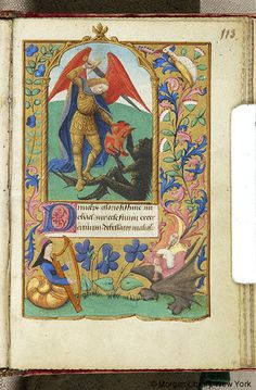Book of Hours, M.248 fol. 113r - France, Angers, between 1465 and 1470 - Angel, Archangel Michael: transfixing Satan - Margins decorated with border of floreate ornament including daisy, and inhabited by bird, hybrid woman wearing headdress, playing harp, and hybrid man, wearing bi-color hood with animal ear on one side, playing bagpipe.