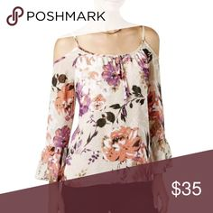 INC Top Textured dot floral cold shoulder blouse INC International Concepts Tops