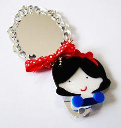 Lembrancinha Festa Branca de Neve Espelho + chaveiro personalizado