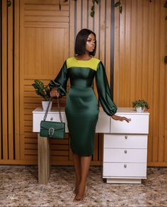 Classy Work Outfits, Classy Dress, Stylish Outfits, Fashion Outfits, Office Dresses For Women, Dresses For Work, Modest Dresses, Casual Dresses, African Maxi Dresses