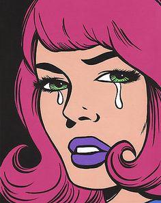 Pink Crying Comic Girl 8x10 Original Painting Pop Art Folk Turddemon Outsider | eBay