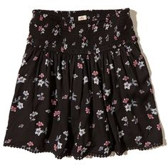 Hollister Patterned Smocked-Waist Skirt (€14) ❤ liked on Polyvore featuring skirts, black floral, print skirt, floral knee length skirt, patterned skirts, floral skirt and pull on skirts