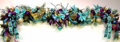 Pavo real Navidad Mantel Garland vacaciones turquesa púrpura Cal plumas de pavo real personalizables por cabina Cove creaciones