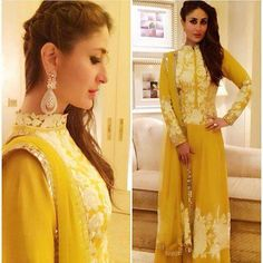 Don't love how high the neck line goes but love the rest. canary yellow Manish Malhotra anarkali