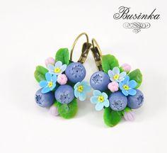 Blueberry Earrings  Berry jewelry  blueberry от NataliyaBusinka