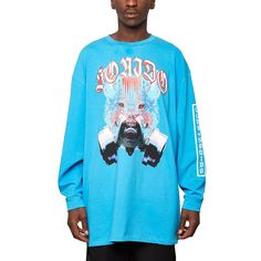 Tomas LS tee from the F/W2016-17 Marcelo Burlon County of Milan collection in medical blue
