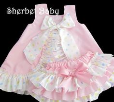 Fully Lined Pink and Polka Dots Ruffled Pinafore Set Sassy Pants Ruffle Diaper Cover Bloomer on Etsy, $74.00