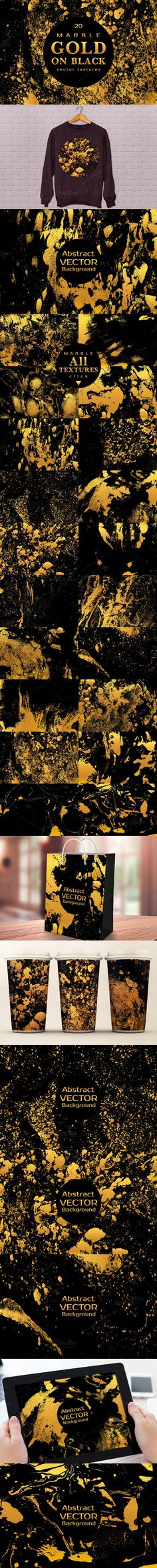 MARBLE GOLD ON BLACK Vector Textures