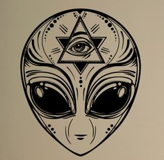 Alien Face Wall Decal Ufo Sci-Fi Vinyl Sticker Masonic Creative Art Decor Home Interior Room Design Removable Mural