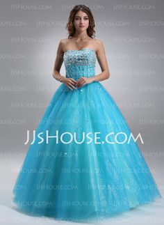 Quinceanera Dresses - $189.59 - Ball-Gown Sweetheart Floor-Length Satin Tulle Quinceanera Dress With Beading (021017115) http://jjshouse.com/Ball-Gown-Sweetheart-Floor-Length-Satin-Tulle-Quinceanera-Dress-With-Beading-021017115-g17115