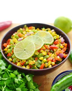 Grilled corn and pepper salsa