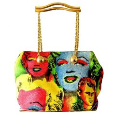 MOST RARE Gianni Versace Couture Warhol Collection Handbag Monroe James Dean 90s #VERSACECOUTURE #ShoulderBag