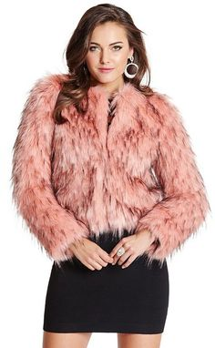 $130, Pink Fur Jacket: Lula Faux Fur Jacket. Sold by GUESS by Marciano. Click for more info: https://lookastic.com/women/shop_items/175837/redirect