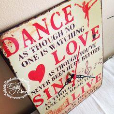 Dance,love,sing,live! What else? :) Handmade metal wall clock