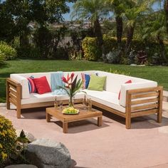 Yasawa Modern Outdoor Cushioned Wood Sectional - Grey by NAPA LIVING - Free Shipping Today - Overstock.com - 20163613
