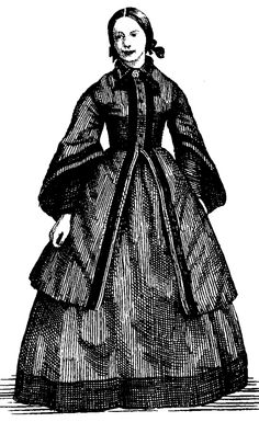 In the the skirts became flatter at the front and projected out more behind the woman. Day dresses had wide pagoda sleeves and high necklines with lace or tatted collars Romantic Period, Victorian Era, Day Dresses, Collars, Neckline, Woman, Lace, Skirts, Sleeves