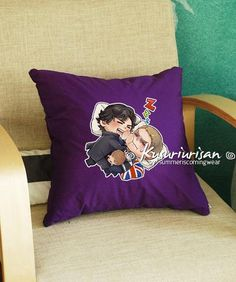 Chibi Sherlock and Jawn sleeping pillow cover 16 inches illustrat: by Kadeart