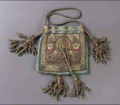 Drawstring bag | England | late 16th-early 17th century | Silk satin embroidered with metallic thread, metal purl, Silk; Braided cords and tassels | Museum of Fine Arts, Boston | Accession #: 63.1368