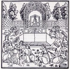 Polifilo e Polia tra le ninfe, Hypnerotomachia, Venezia, Aldo Manuzio Sr., 1499