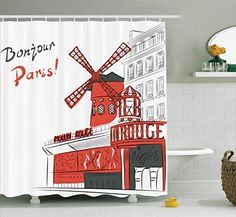 Paris Shower Curtain by Ambesonne, Sketch Art of Urban Landscape with Cabaret Moulin Rouge in Paris Modern City, Fabric Bathroom Decor Set with Hooks, 84 Inches Extra Long, Orange Grey White #urbanlandscape