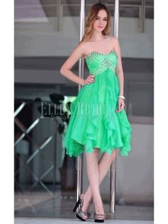 A-line Sweetheart Knee-length Chiffon Sequined Tencel Evening Dresses-USD$89.99