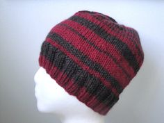 Red & Brown Beanie Hat for Men  Teen Boys Hand Knit by Girlpower, $35.50